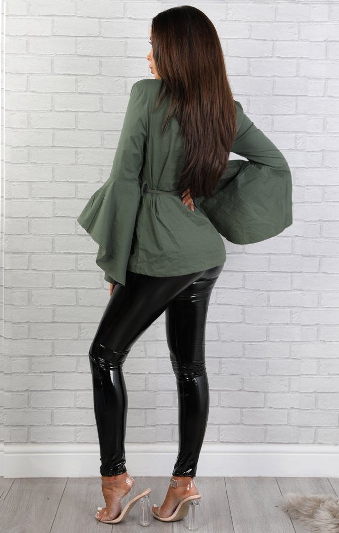 Khaki Wrap Over Top With Flared Sleeves – Maisie