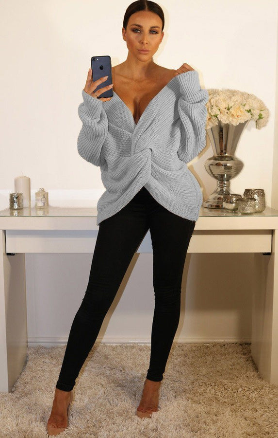 Grey Front Wrap Knitted Jumper