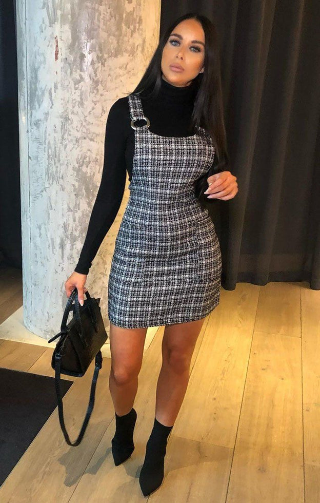 Black Tweed Ring Front Pinafore Dress