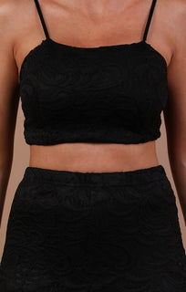 Black Floral Lace Trouser Co-ord Set - Ada