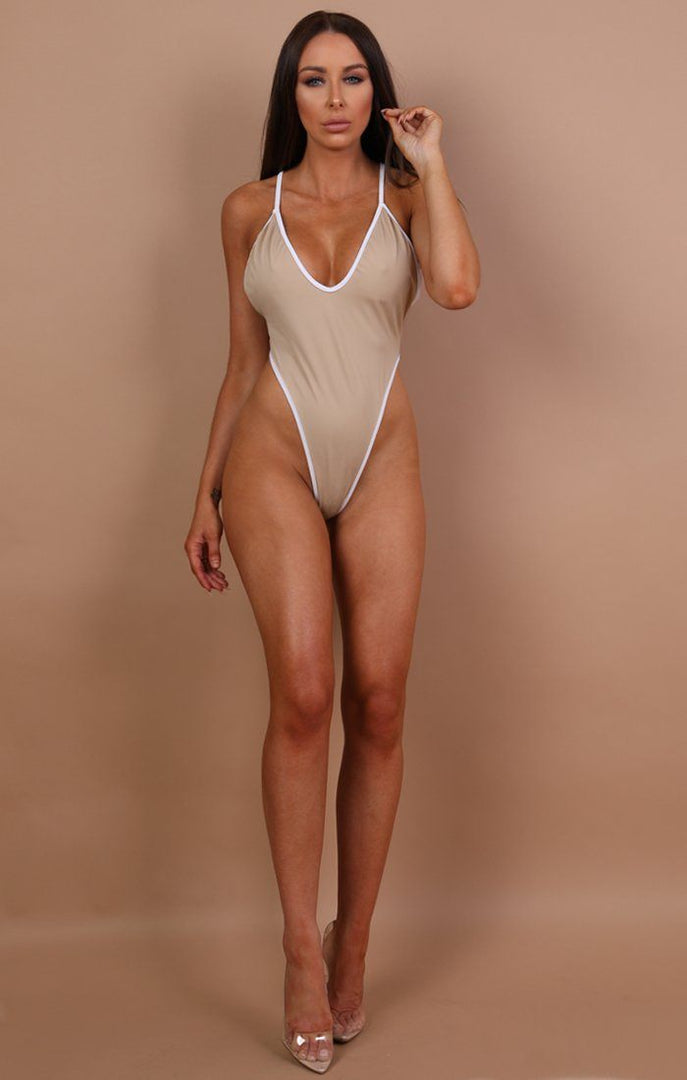Beige High Rise Swimsuit - Elise