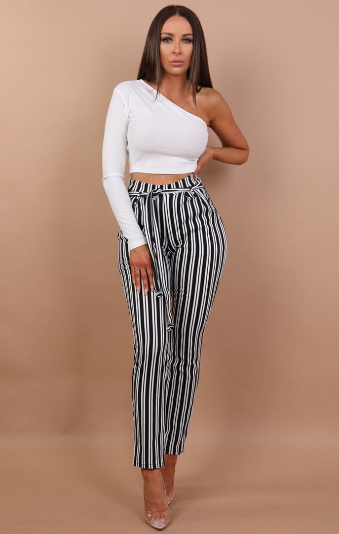 Black And White Stripe High Waisted Trousers