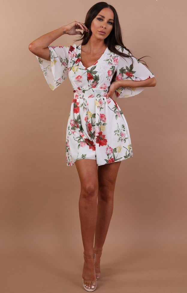 White Floral Tie Back Playsuit - Sandy