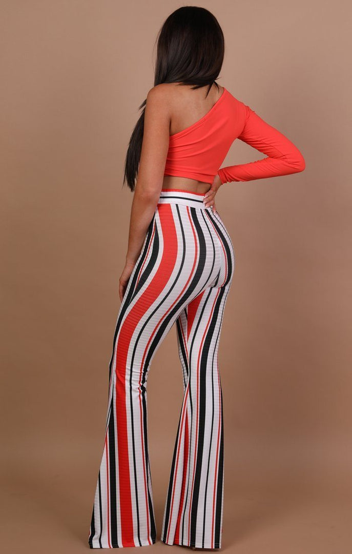 White Stripe Bell Bottom Trousers - Alana