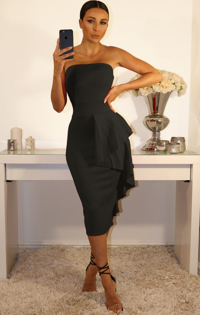 Black Side Frill Bandeau Dress