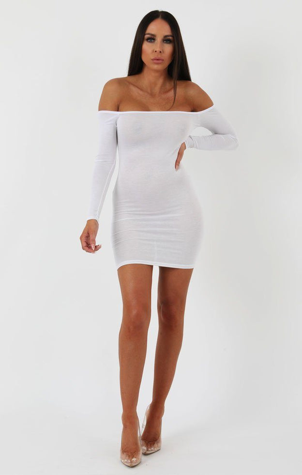White Bardot Bodycon Dress - Montana