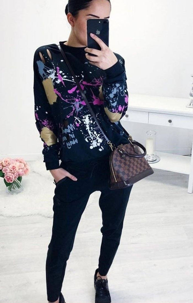 Black Distressed Paint Splatter Jumper - Alexa