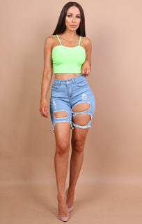 Neon Green Cami Crop Top - Heidi