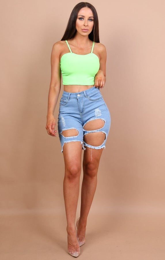 Blue Distressed Ripped Jeans Shorts - Serenity