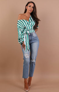 Green And White Stripe Wrap Shirt - Thea