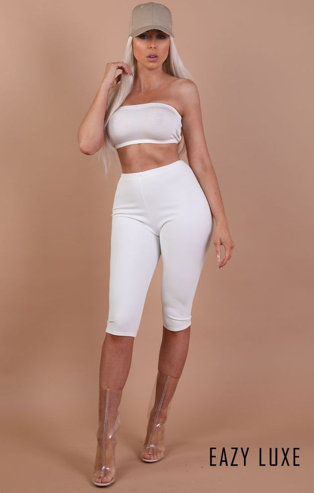 White Basic Bandeau Crop Top – Kylie