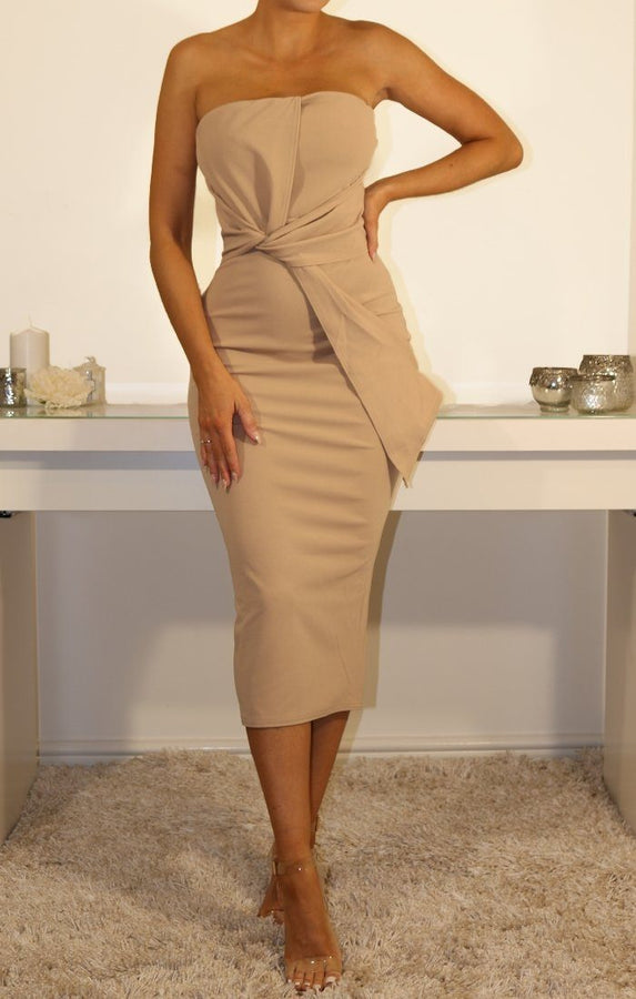 Beige Cross Front Bandeau Midi Dress
