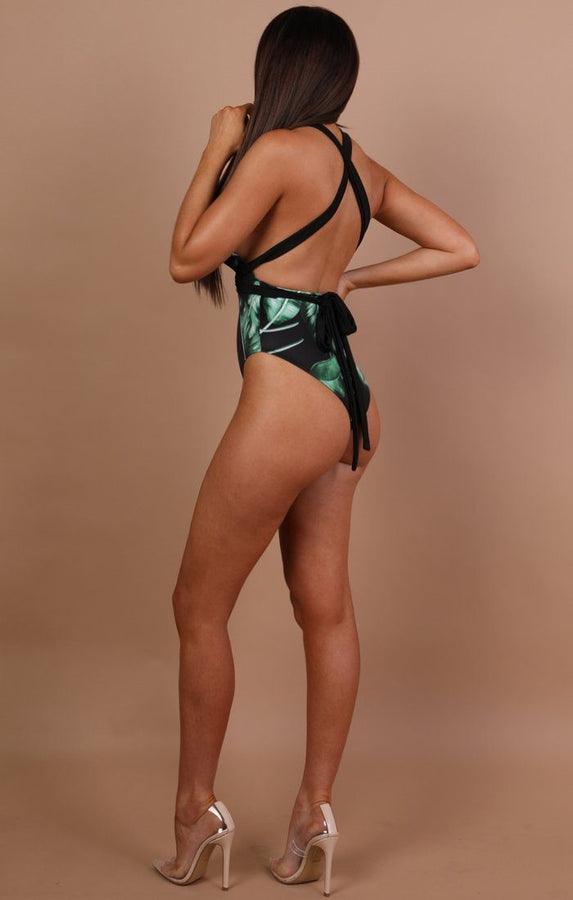 Black Tropical Tie Back Swimsuit - Kiesha