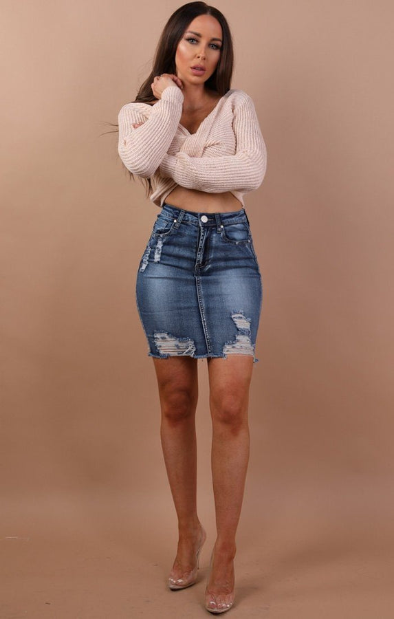 Dark Distressed Denim Mini High Waist Skirt - Hazel