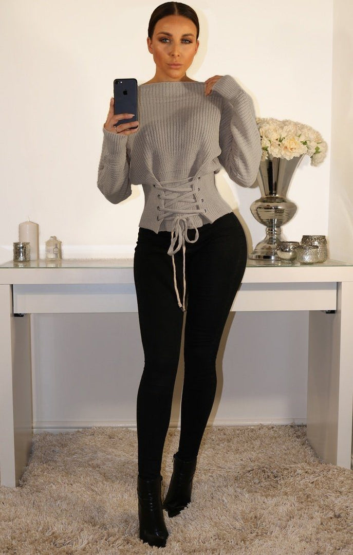 Grey Corset Front Knitted Jumper