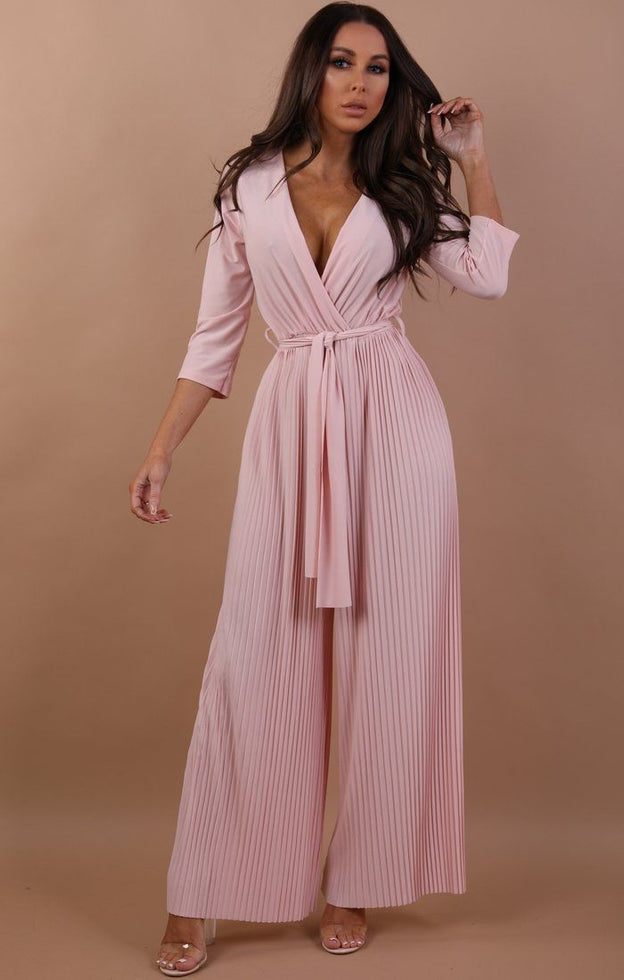 Nude Pleated Wide Leg Jumpsuit - Abigail