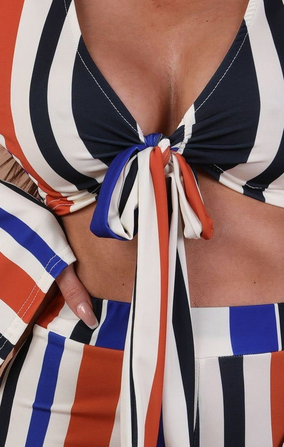 Blue And Orange Striped Print Front Tie Two Piece Co-ord Set – Scarlet