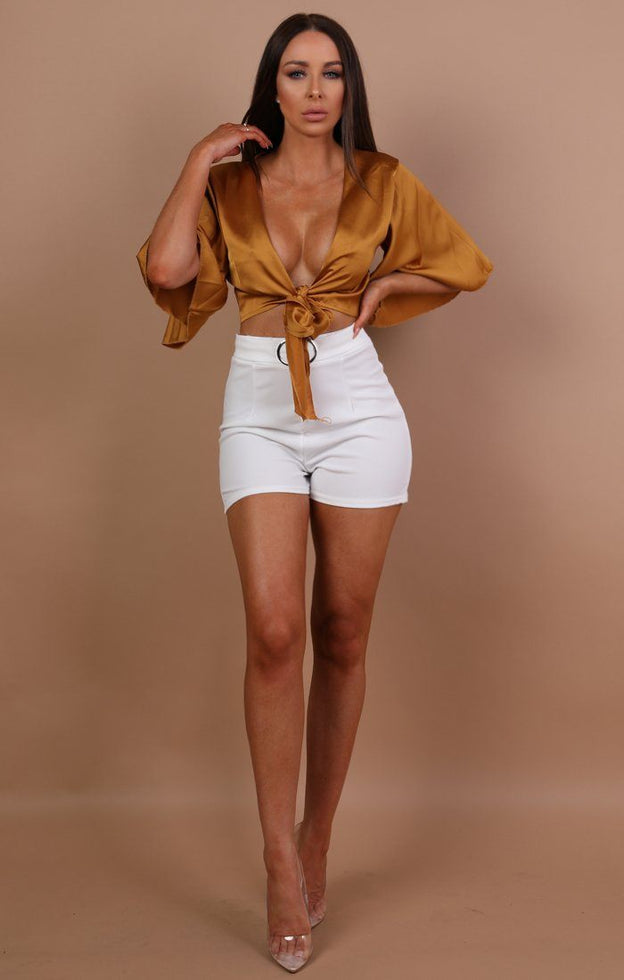 Mustard Satin Tie Front Crop Top - Larna