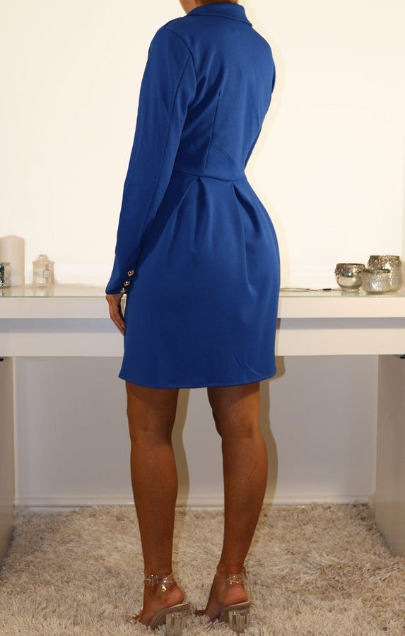 Blue Button Embellished Blazer Dress