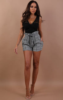 Black Tartan Paper Bag Shorts - Layla