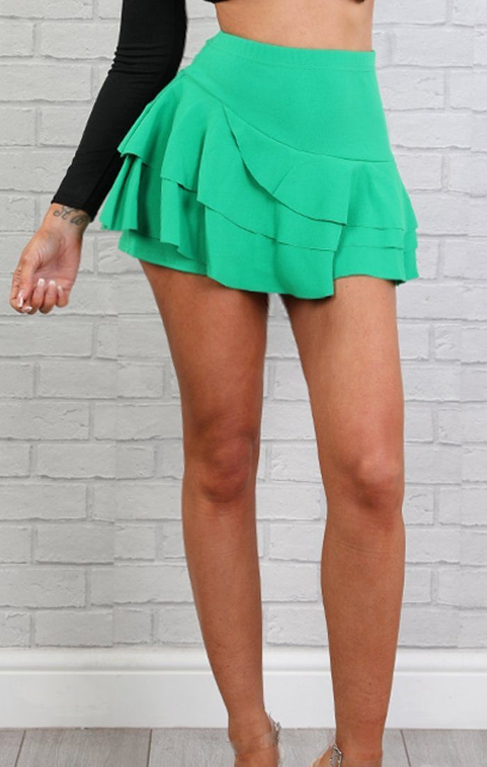 Green Layered High Waist Mini Frill Shorts - Ellie