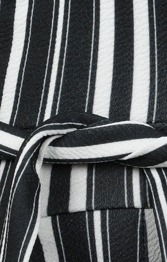 Black And White Cropped Stripy Jumpsuit - Andria
