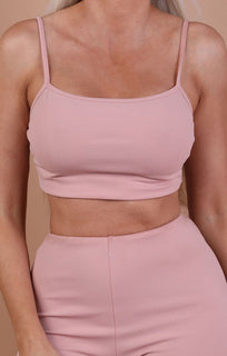 Dusky Pink Cami Basic Crop Top – Mollie