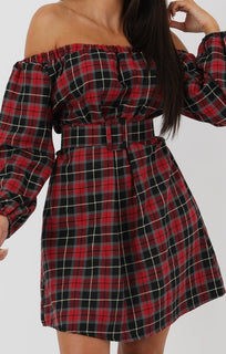 Red Tartan Bardot Long Sleeve Dress with Belt - Juliette