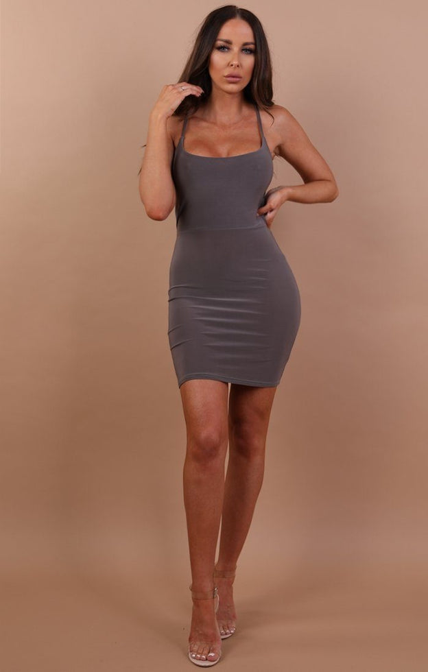 Grey Slinky Lace Up Bodycon Dress - Courtney