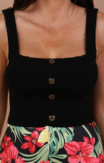 Black Ribbed Button Detail Crop Top - Morgan