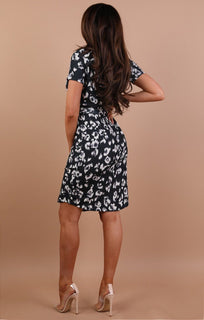 Black Animal Print Belted Shirt Dress - Saphire