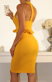 Mustard Frill Bodycon Dress