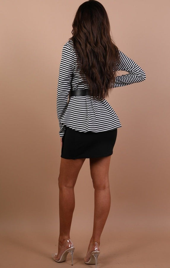Black Striped Plunge Collar Blazer Top - Kaylee
