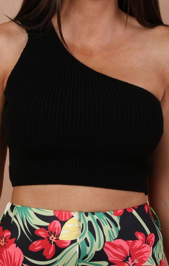 Black Knitted One Shoulder Crop Top - Penny