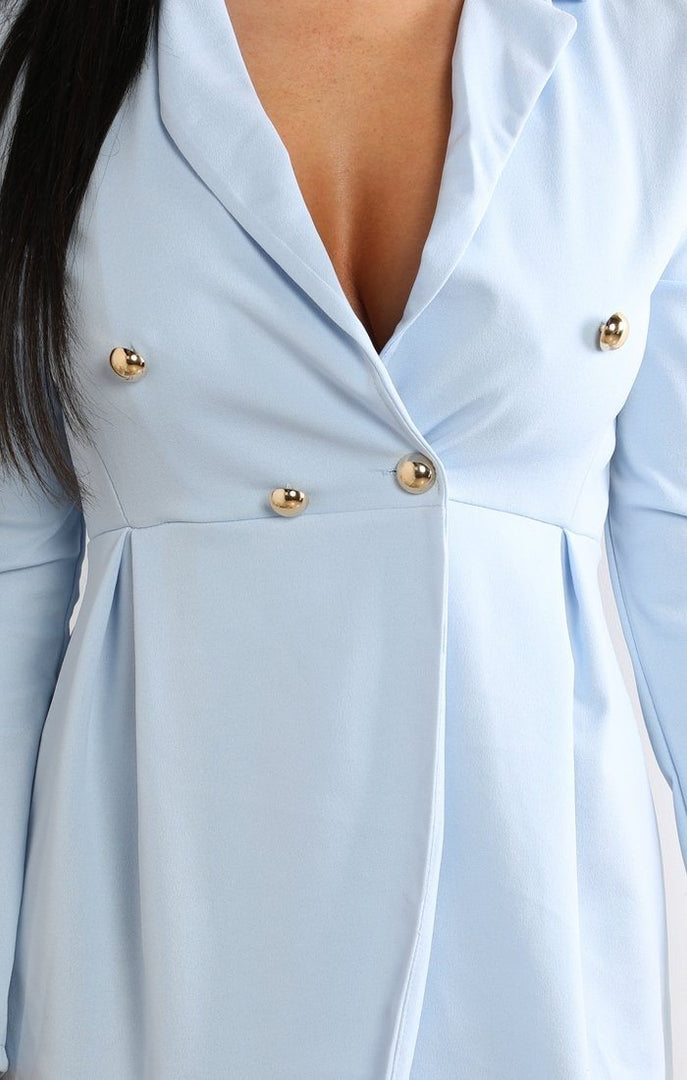 Light Blue Button Embellished Blazer Dress