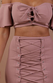 Rose Lace Up Co-ord Set - Charlie