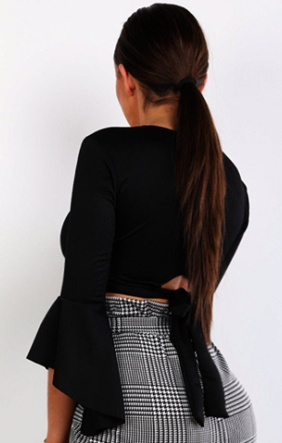 Black Plunge Bell Sleeve Crop Top