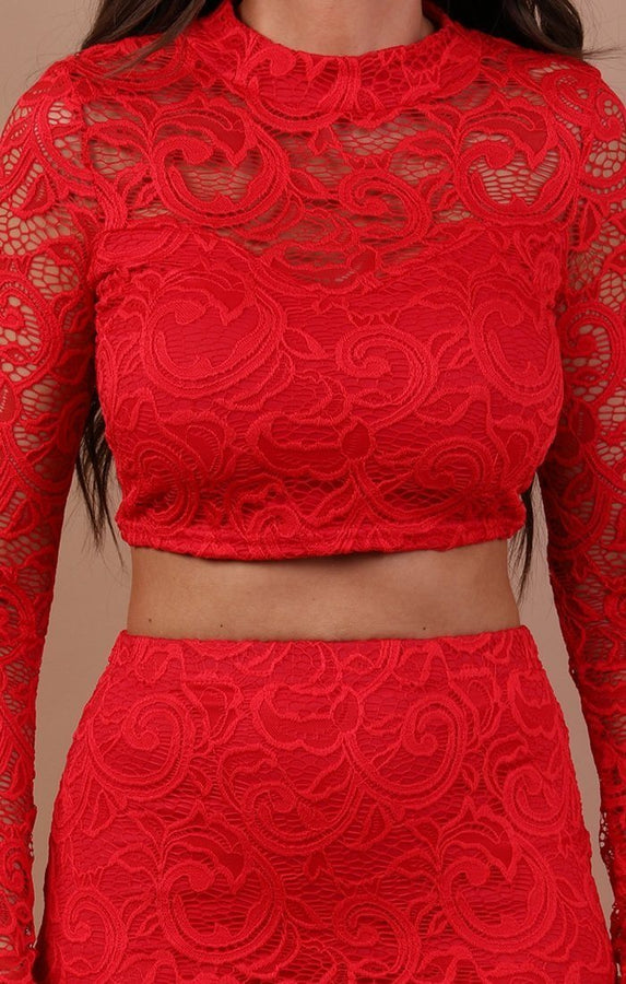 Red Lace Midi High Waist Skirt Co-ord Set - Juliet