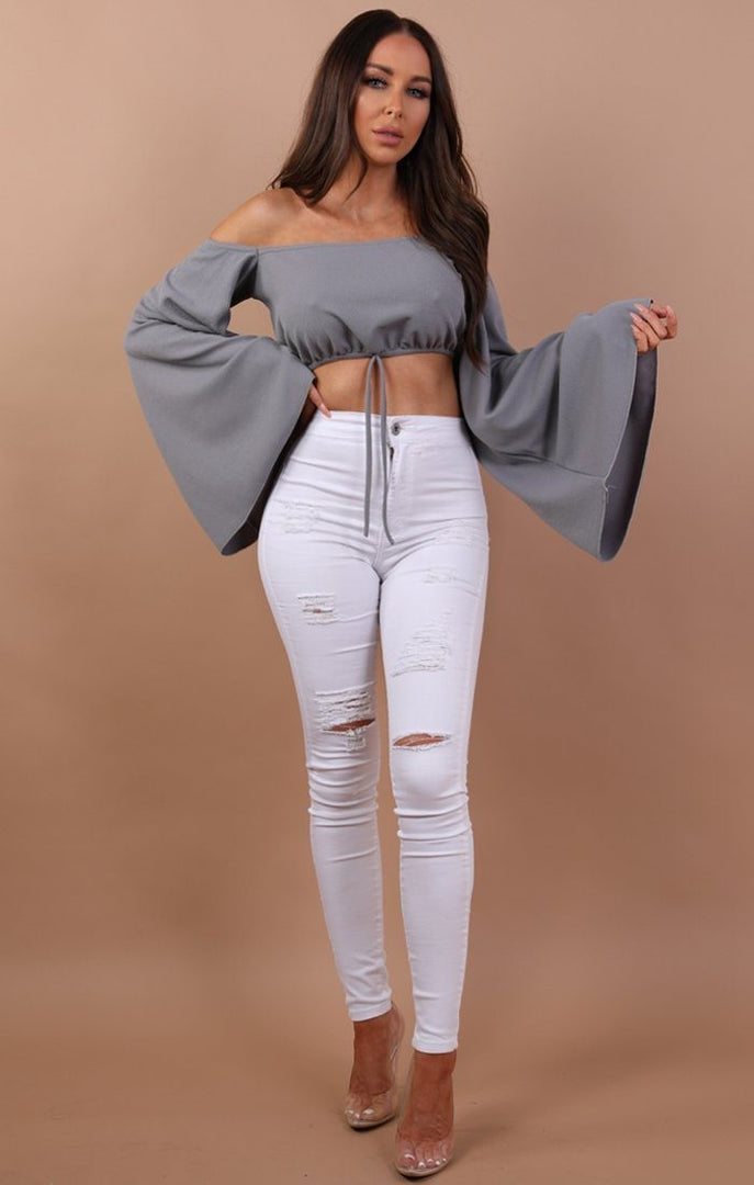 Grey Bardot Flared Crop Top - Fern