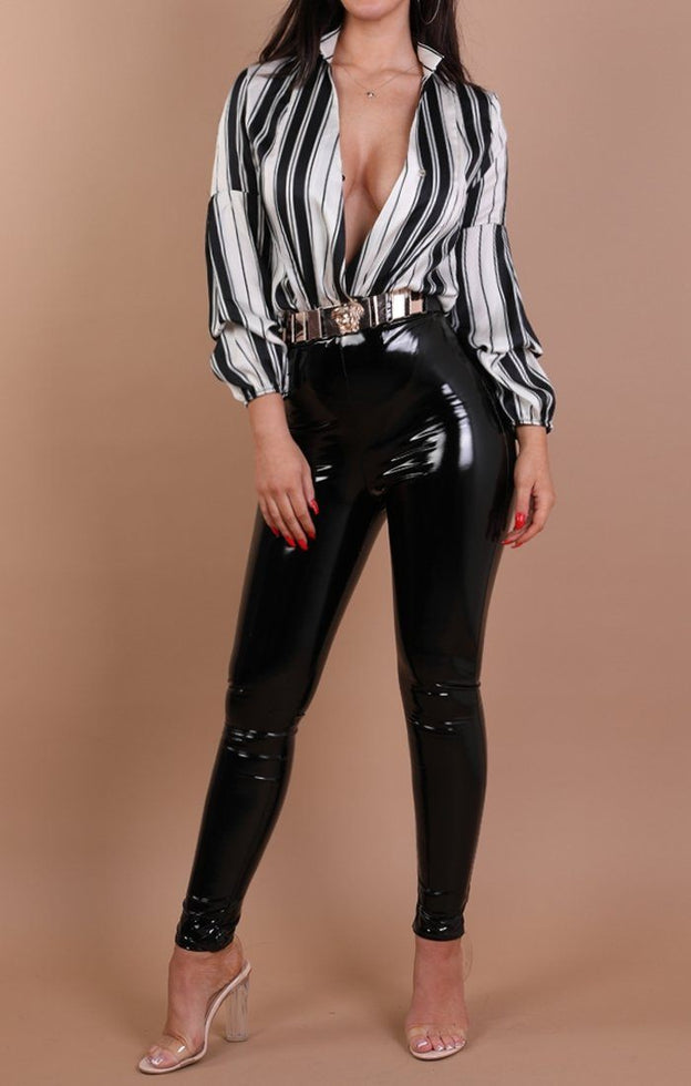 Black And White Stripe Plunge Satin Shirt Bodysuit - Katie