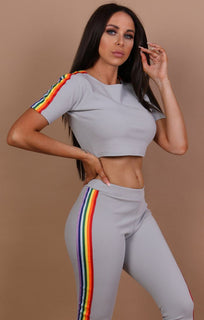 Grey Short Sleeve Rainbow Tracksuit - Gracie