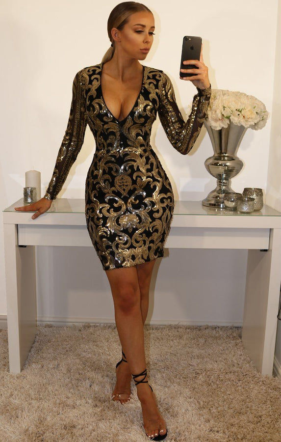 Black Gold Sequin Detail Bodycon Mini Dress