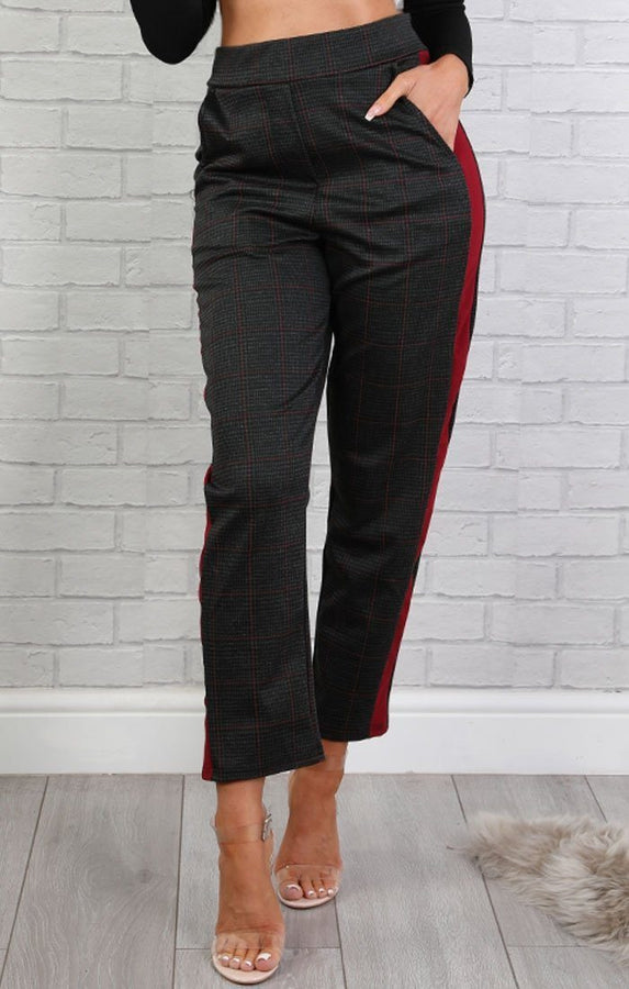 Grey Cropped Trousers With Side Stripe - Clara