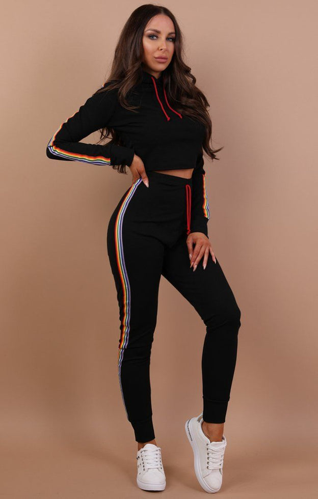 Black Long Sleeve Rainbow Tracksuit - Paloma