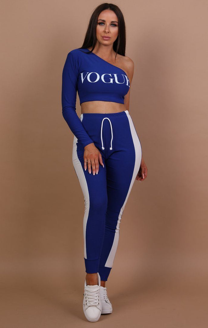 Blue Vogue One Shoulder Crop Top - Jayde