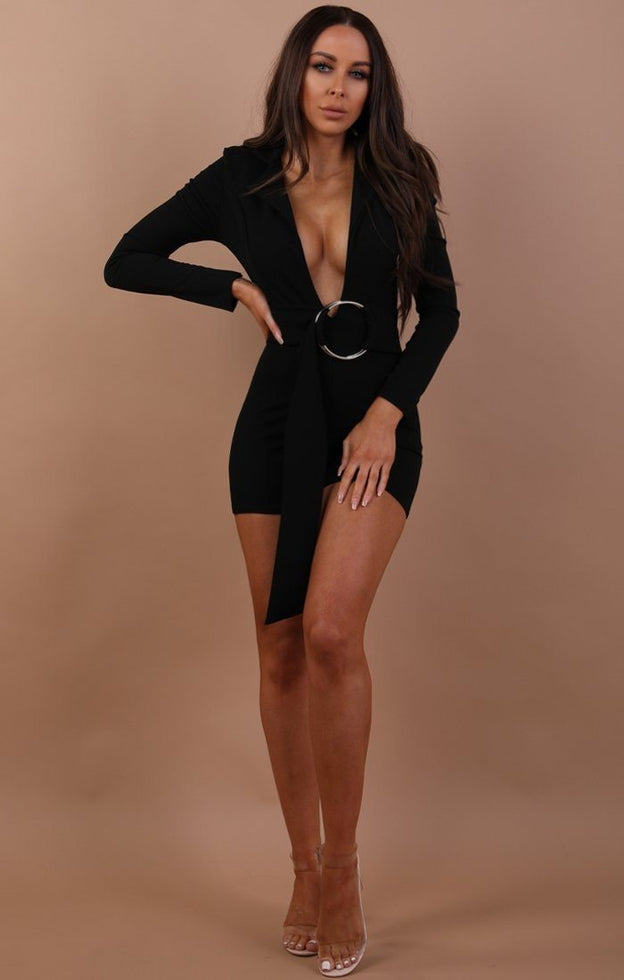 Black Plunge Ring Front Playsuit - Marley