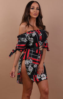 Black Red Floral Bardot Dress - Nadia