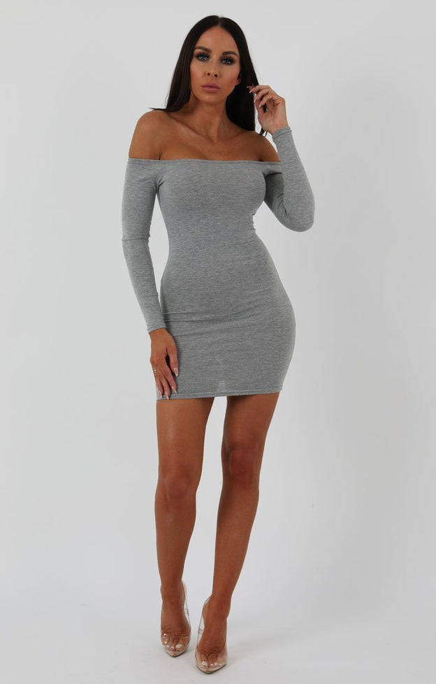 Grey Bardot Bodycon Dress - Montana