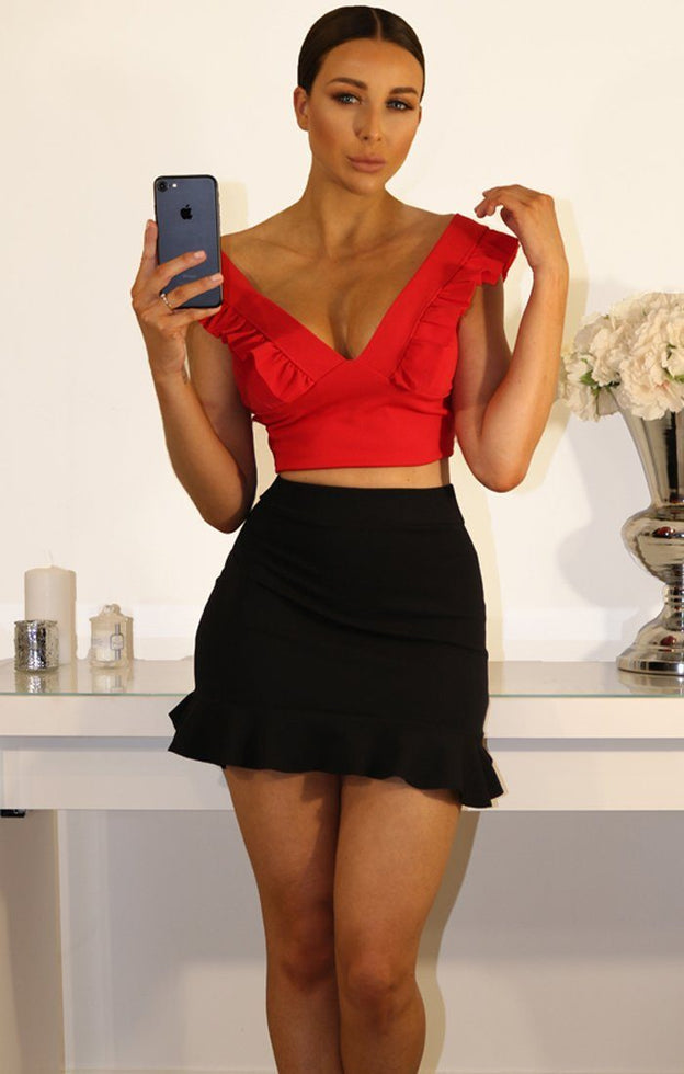 Red Frill Sleeve Crop Top