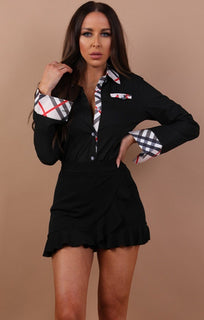 Black Check Detail Shirt - Tori